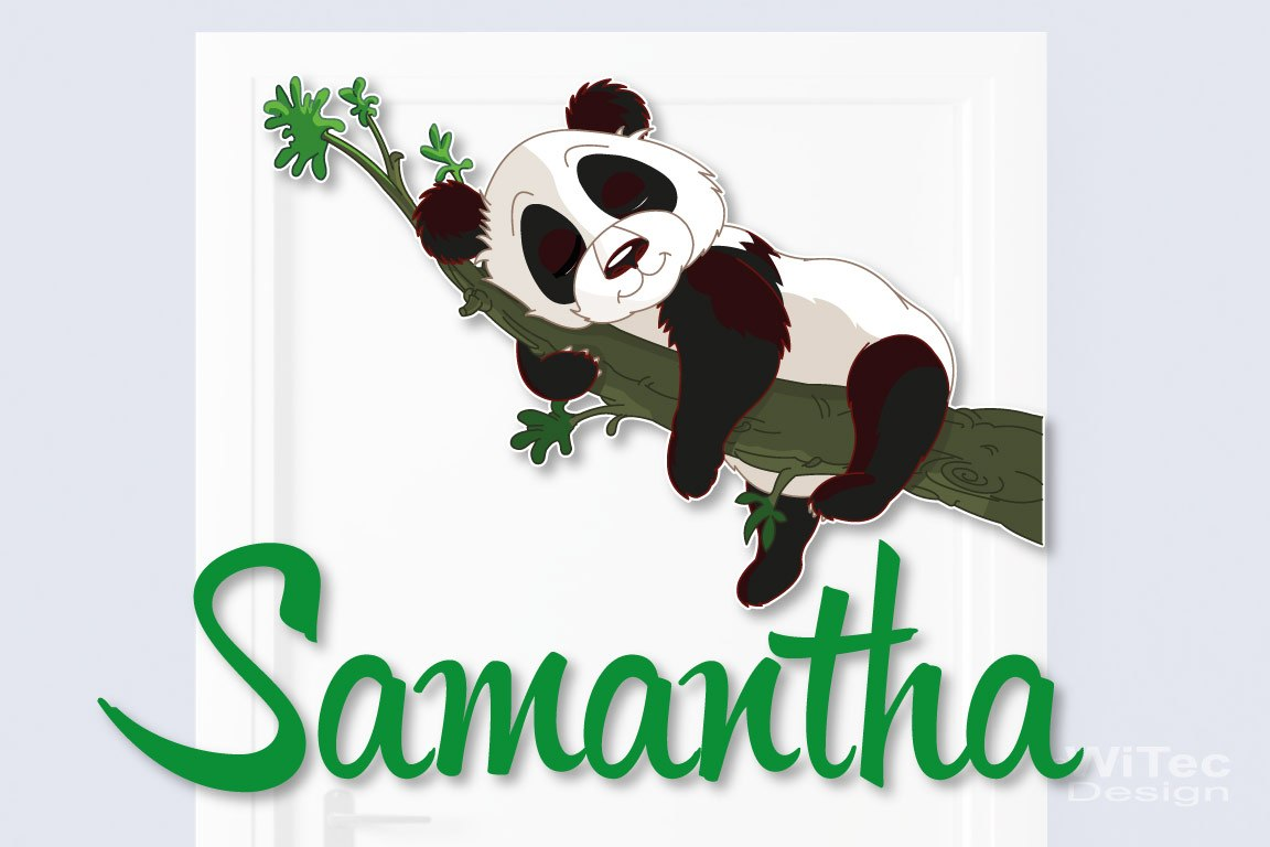 Türaufkleber Panda Name Kinderzimmer Türtattoo