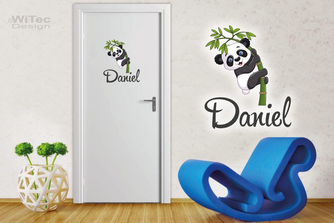 Panda Türaufkleber Bär Name Kinderzimmer