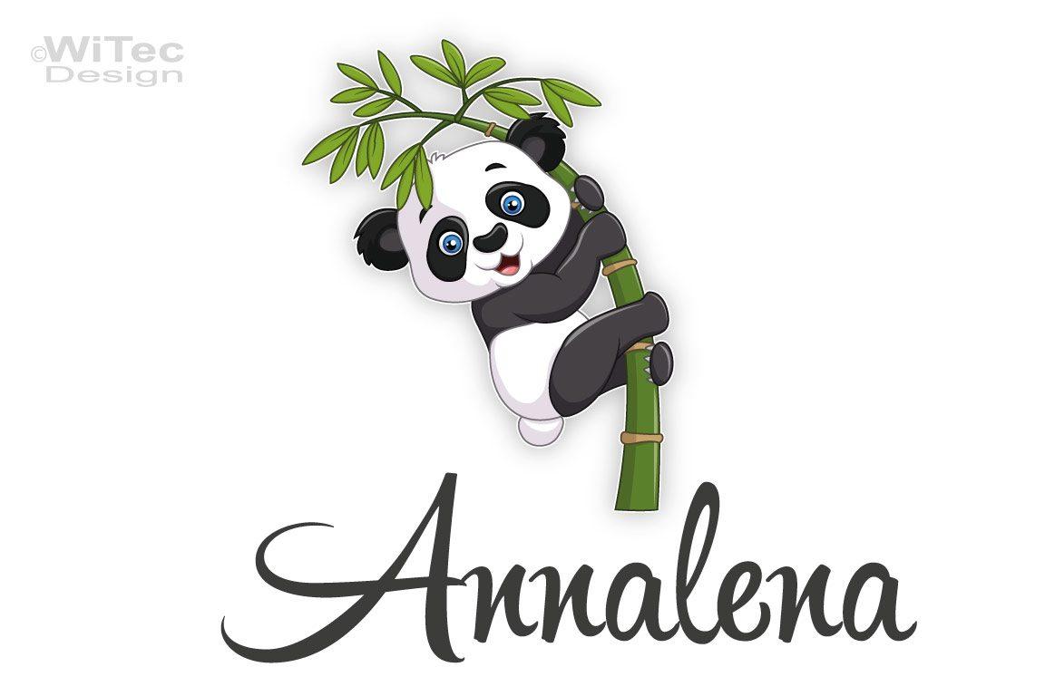 Türaufkleber Panda Bärchen Wunschname Kinderzimmer