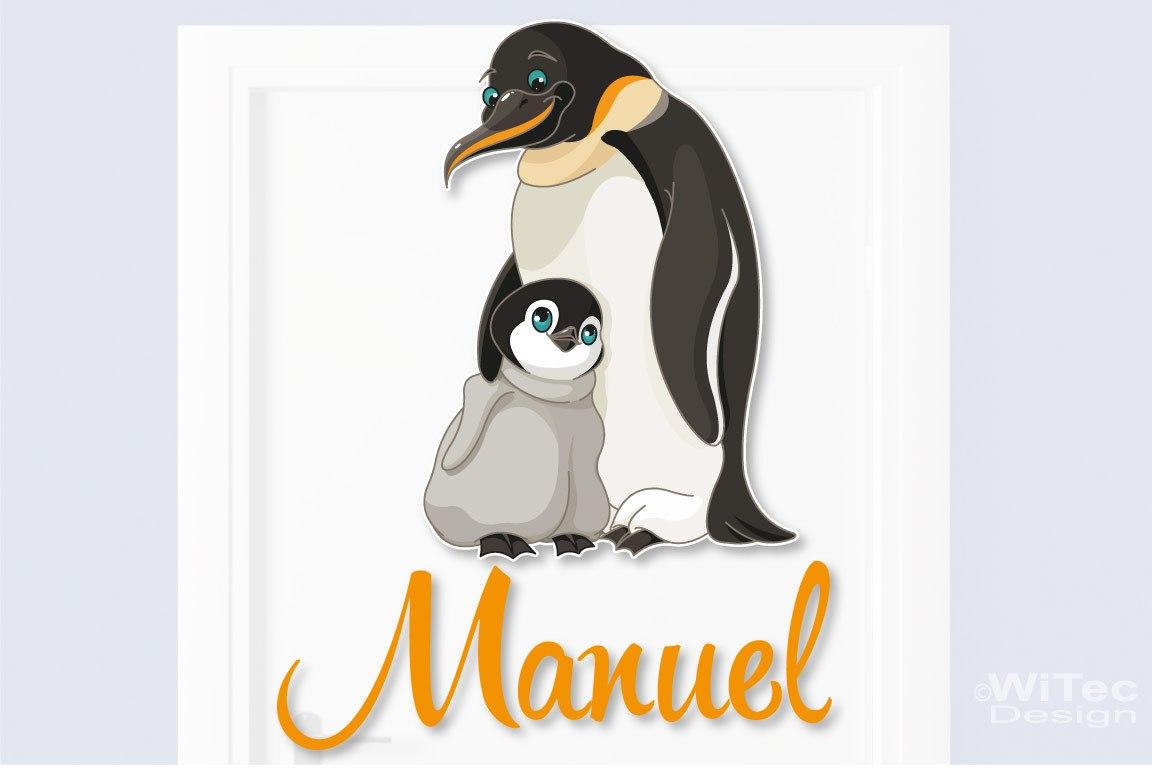 Türaufkleber Pinguin Wunschname Kinderzimmer Türtattoo