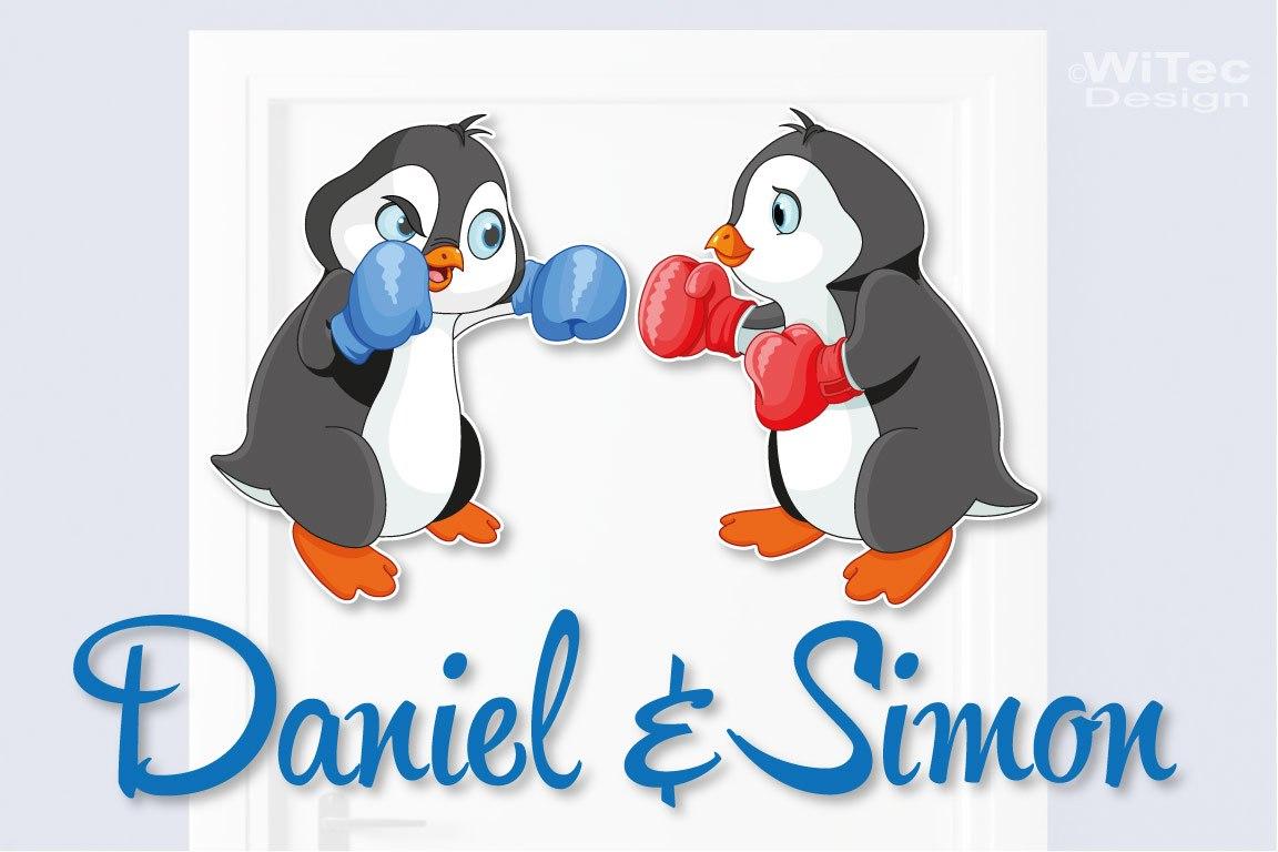 Türaufkleber Pinguin Geschwister Kinderzimmer Türtattoo