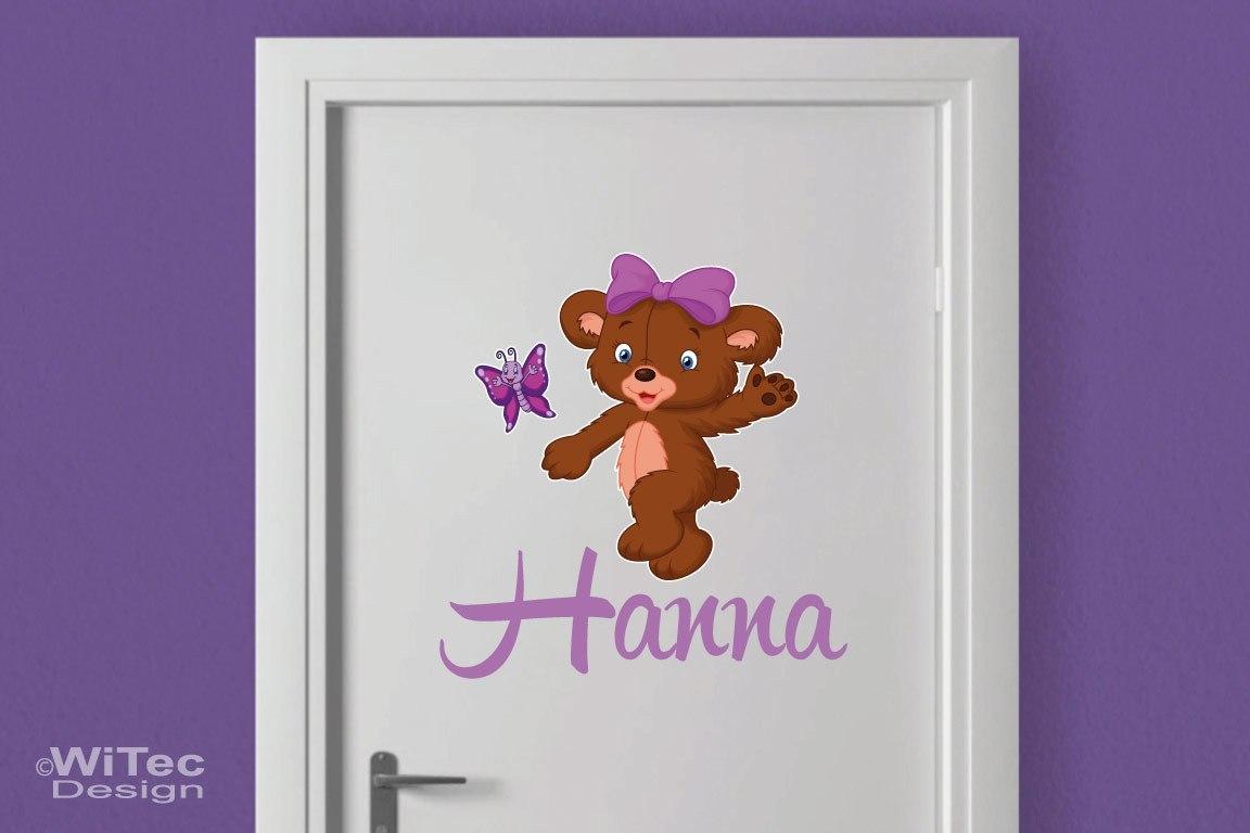 Türaufkleber Teddy Schmetterling Name Kinderzimmer Türtattoo