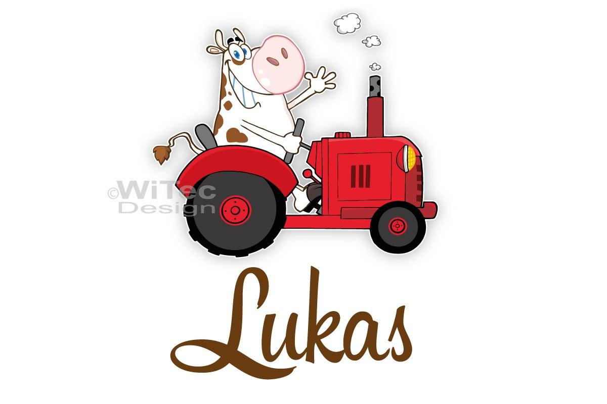 Türaufkleber Traktor mit lustiger Kuh Name Türtattoo Kinderzimmer