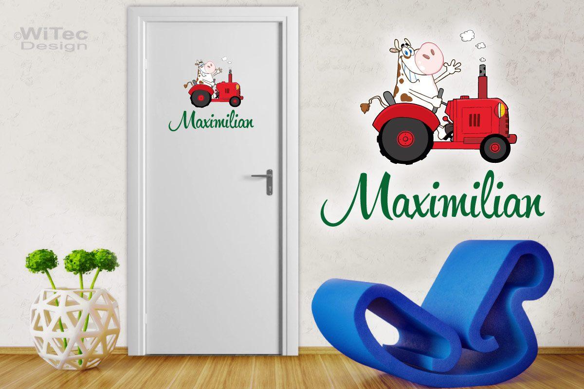 Türaufkleber Traktor mit lustiger Kuh Name Bauernhof Trecker Türtattoo