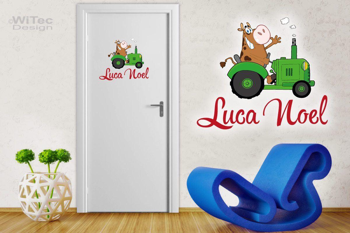 Türaufkleber Traktor mit Kuh Name Bauernhof Trecker Türtattoo