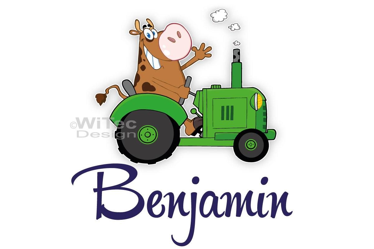Türaufkleber Traktor mit lustiger Kuh Türtattoo Kinderzimmer