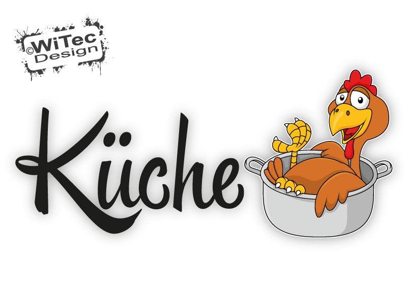 Türaufkleber Küche Hahn Gockel Huhn Kochtopf Türtattoo