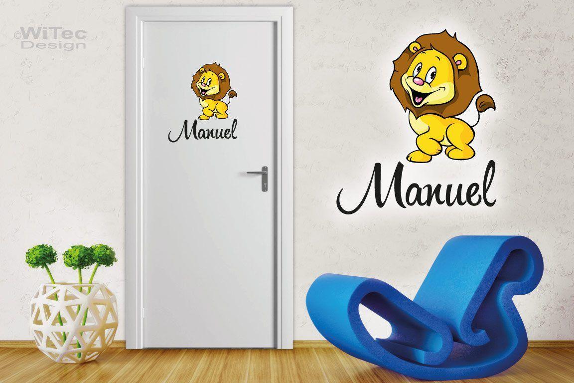 Türaufkleber Löwe Wunschname Kinderzimmer Türtattoo