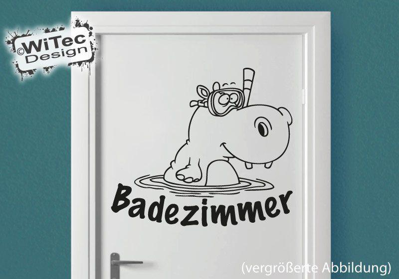 Türaufkleber Badezimmer Nilpferd Hippo