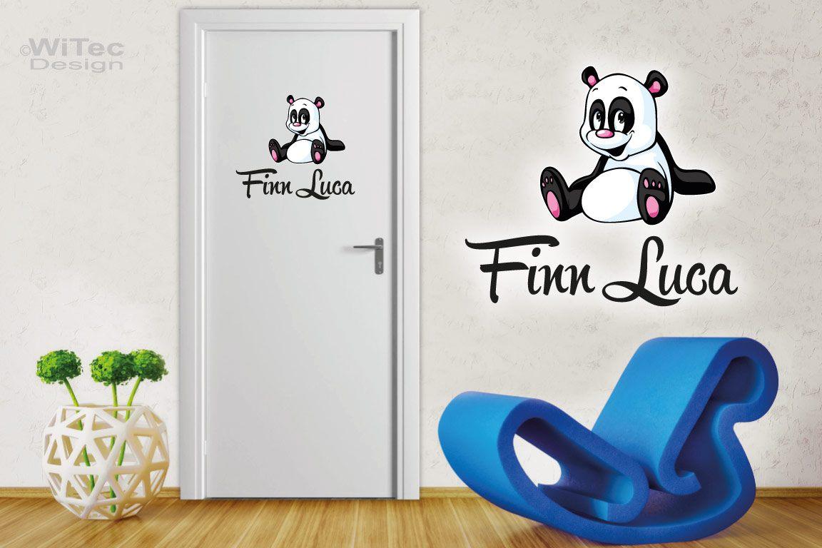 Türaufkleber Panda Wunschname Kinderzimmer Türtattoo