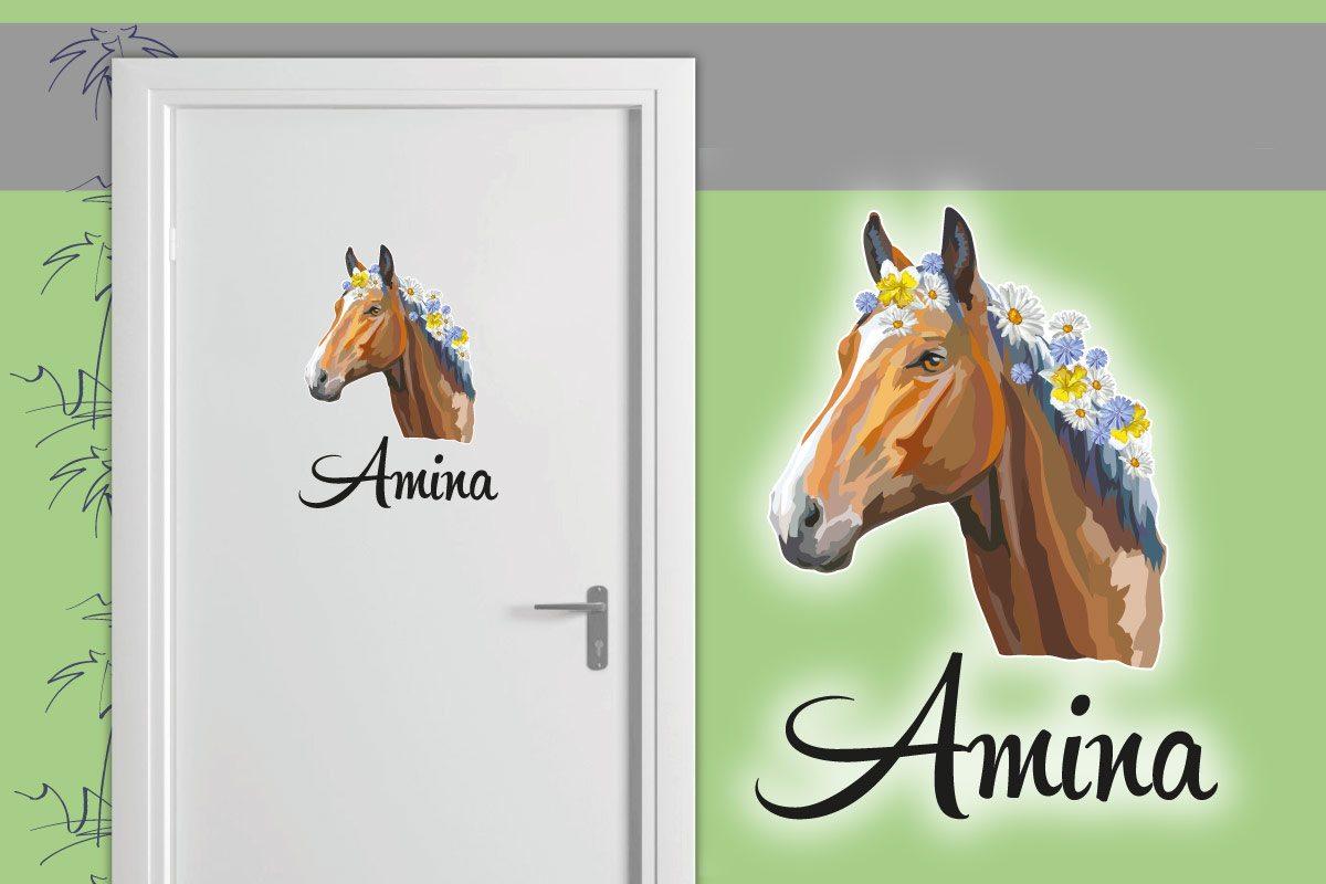 Türaufkleber Kinderzimmer Pferd Blumen Name