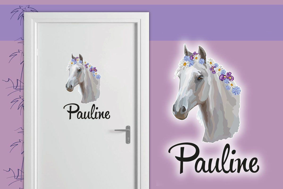 Türaufkleber Kinderzimmer Pferd Blumen Wunschname