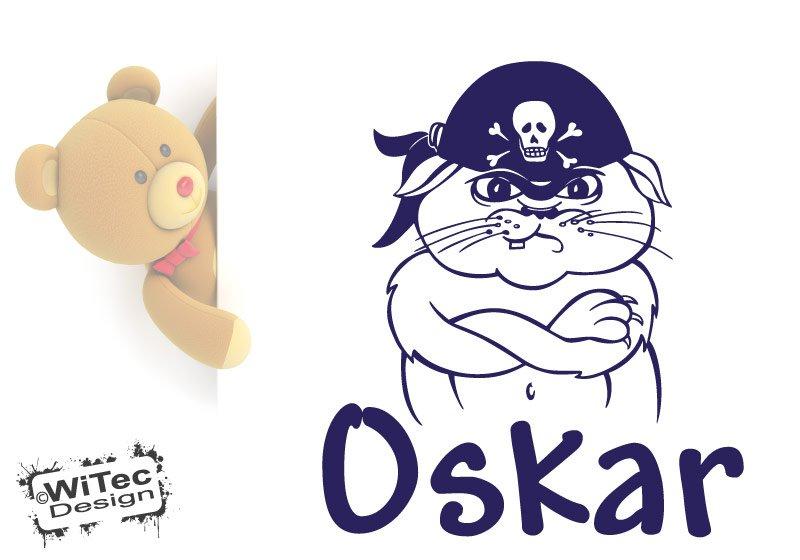 Türaufkleber Pirat Katze Name Kinderzimmer Türtattoo