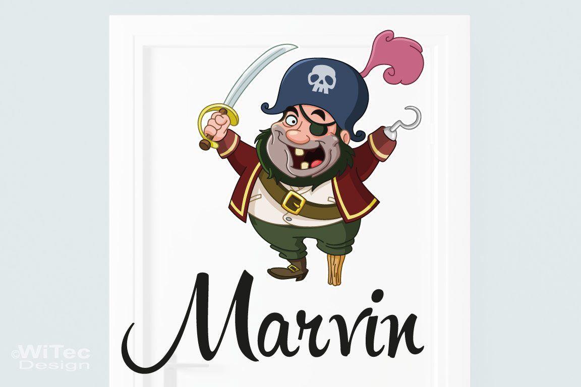 Türaufkleber Pirat Wunschname Kinderzimmer Türtattoo