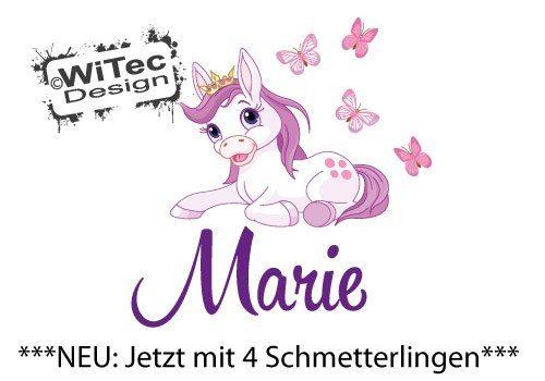 Türaufkleber Pony Pferd Krone Wunschname Tür Aufkleber Wandtattoo