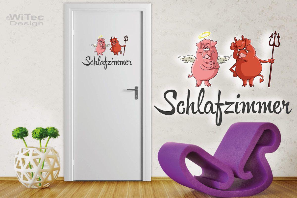 Türaufkleber Schlafzimmer Engel Teufel Schweinchen Sticker