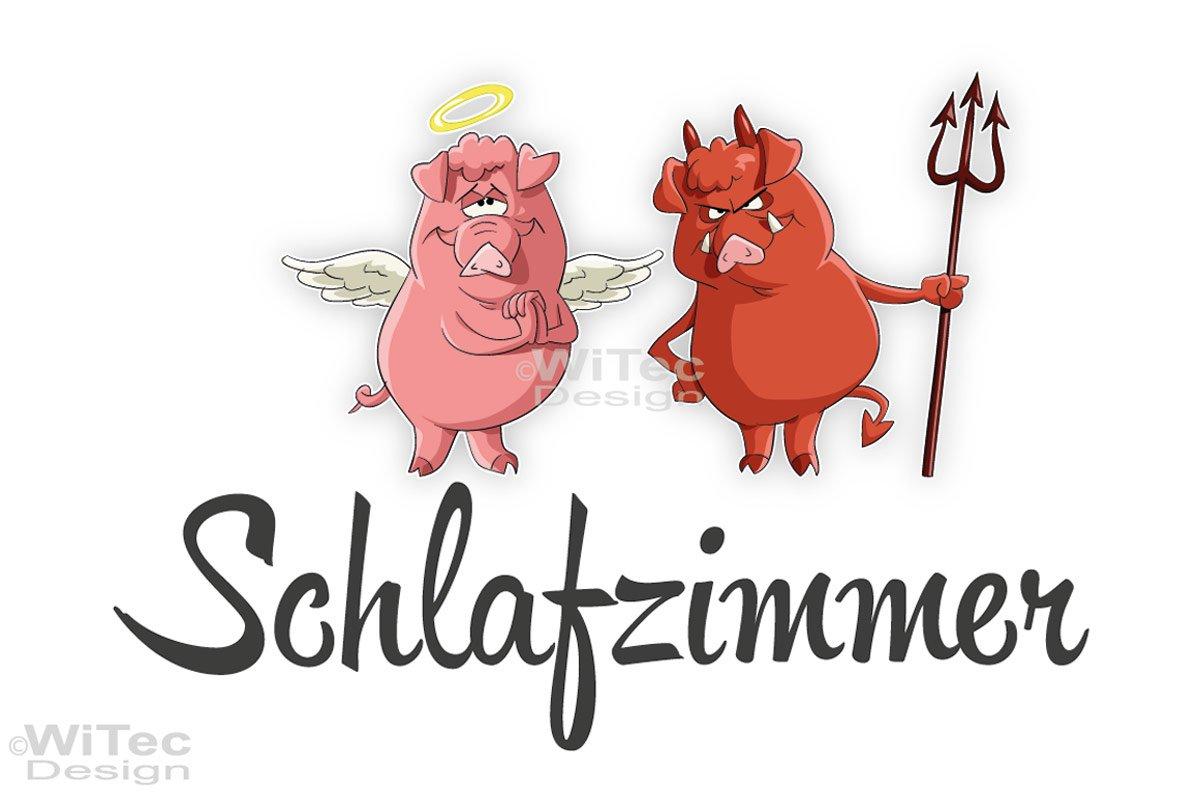 Türaufkleber Schlafzimmer Engel Teufel Schwein Türtattoo