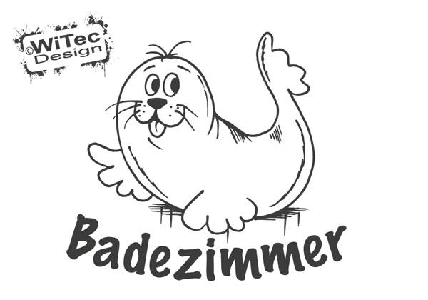 T raufkleber seehund badezimmer t r aufkleber - Badezimmer comic ...