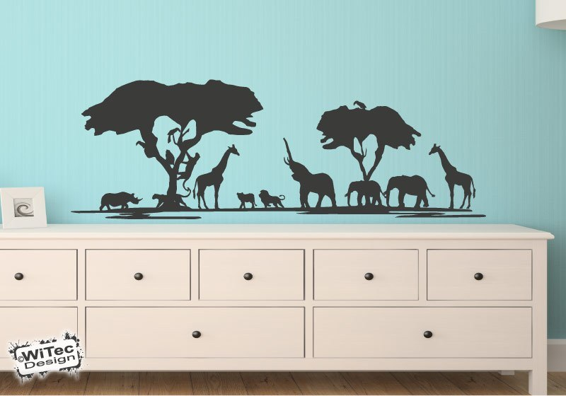 afrika wandtattoo safari l we elefant giraffe wandaufkleber. Black Bedroom Furniture Sets. Home Design Ideas