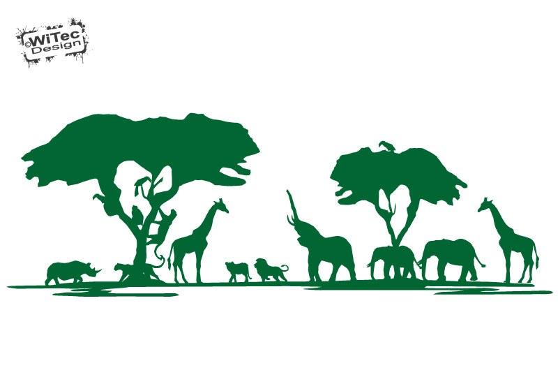 Wandtattoo Afrika Löwe Elefant Giraffe Wandaufkleber