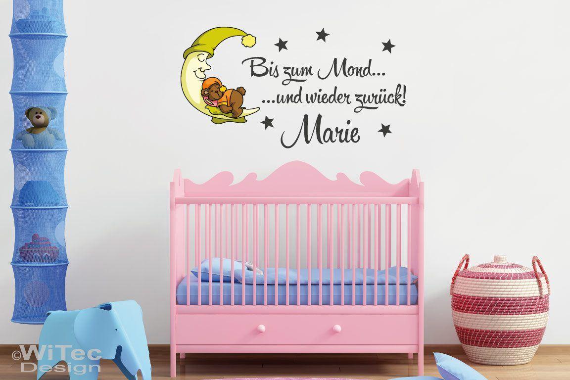 Wandaufkleber Kinderzimmer Bis zum Mond Name Wandtattoo