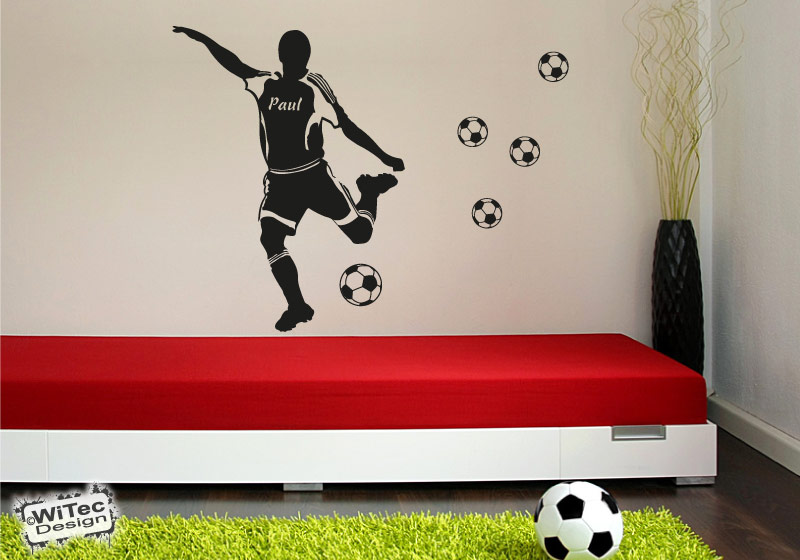 Wandtattoo Fußballer Name Fußball Wandaufkleber Kinderzimmer