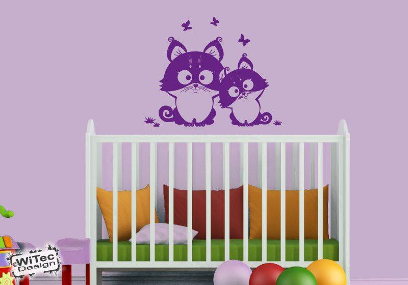 Wandtattoo Katze Schmetterling Katzen Wandaufkleber Kinderzimmer