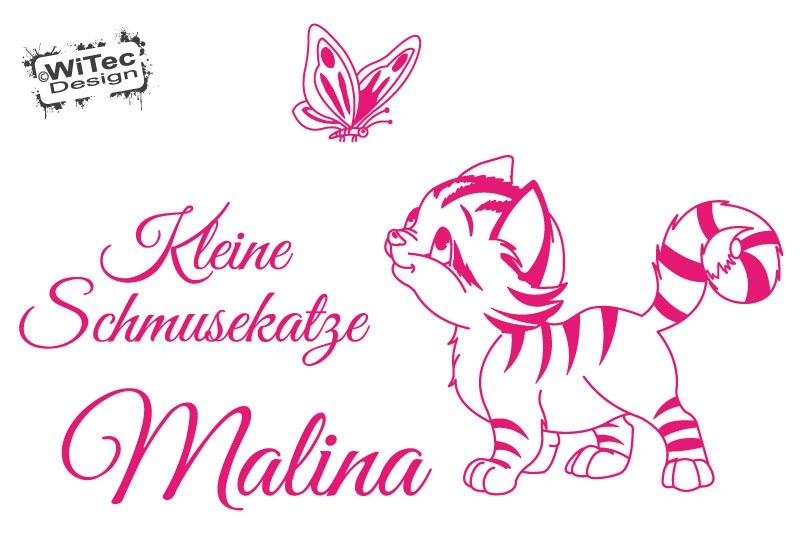 Wandtattoo Kinderzimmer Katze Schmetterling Name Wandaufkleber
