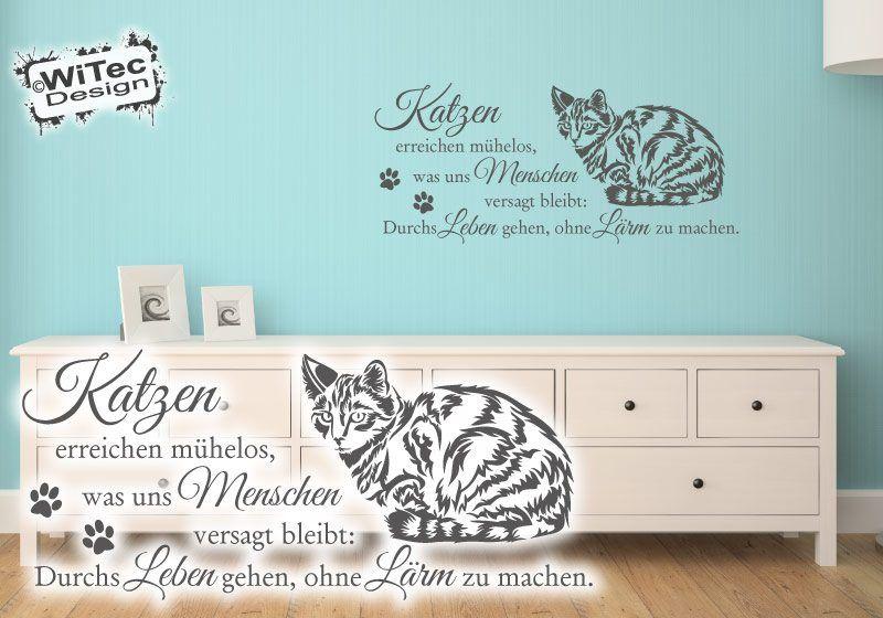 Wandtattoo Katze Zitat Pfoten Wandaufkleber