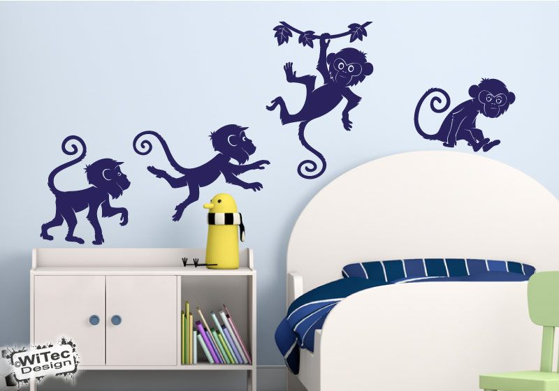 affen wandtattoo wandaufkleber kinderzimmer. Black Bedroom Furniture Sets. Home Design Ideas