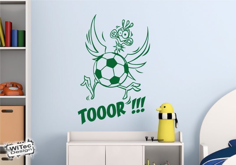 fu ball vogel wandtattoo fussball wandaufkleber kinderzimmer. Black Bedroom Furniture Sets. Home Design Ideas