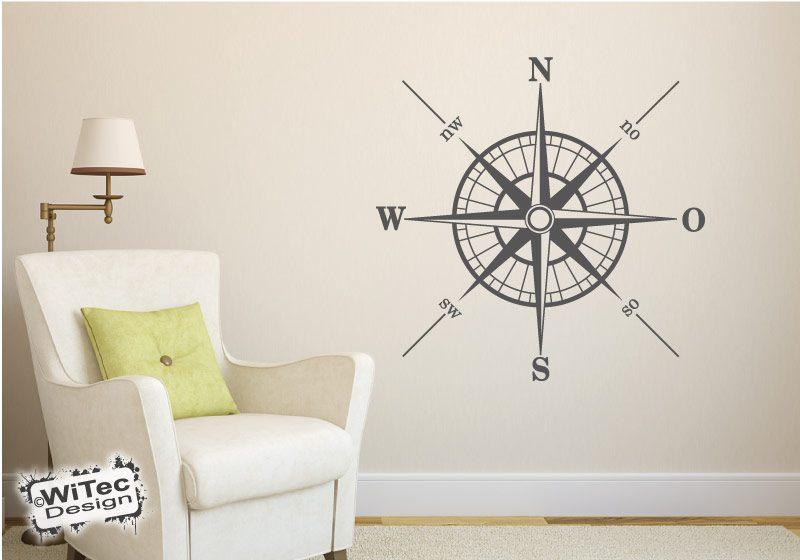 Wandaufkleber Kompass Welt Schiff Nautik Wandtattoo