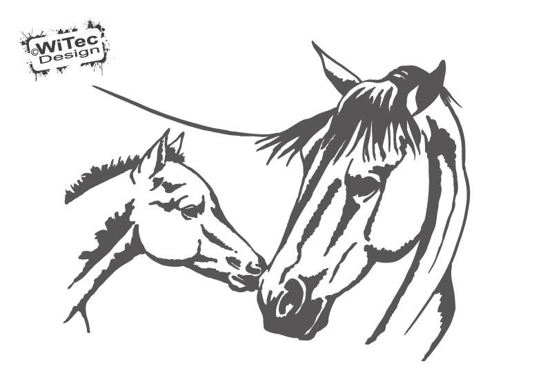 Wandtattoo Pferd Stute Fohlen Kinderzimmer