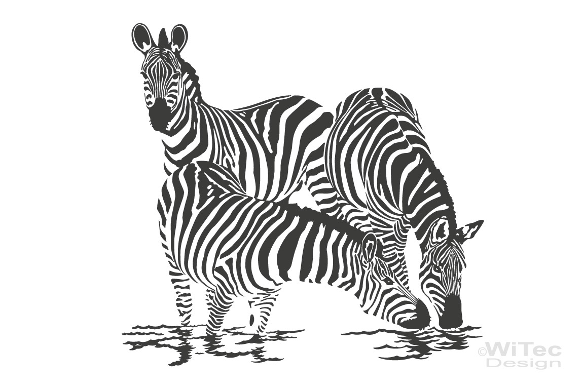 Wandtattoo Zebra Familie Wandaufkleber Afrika