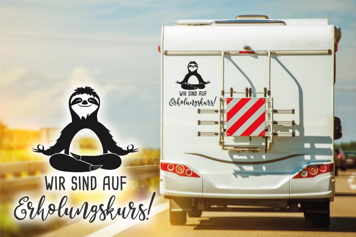 Faultier Erholungskurs Wohnmobil Aufkleber Sticker