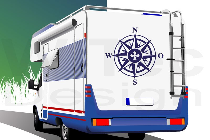 Kompass Wohnmobil Auto Aufkleber Windrose Tattoo