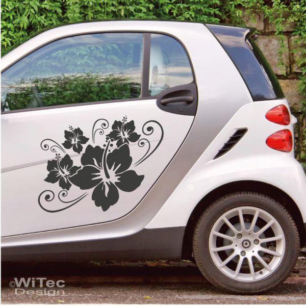 aa132 hibiskus hibiscus blumen auto aufkleber set. Black Bedroom Furniture Sets. Home Design Ideas