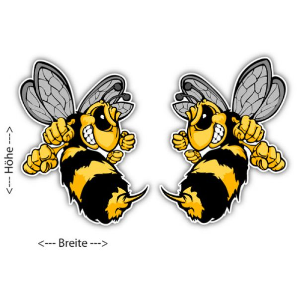 Auto Aufkleber Böse Hornisse 2er Set Sticker Biene Wespe