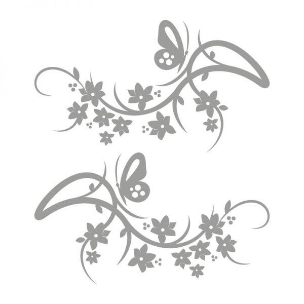 Autoaufkleber Blumenranke Schmetterling Aufkleber 2er Set Motiv Dream