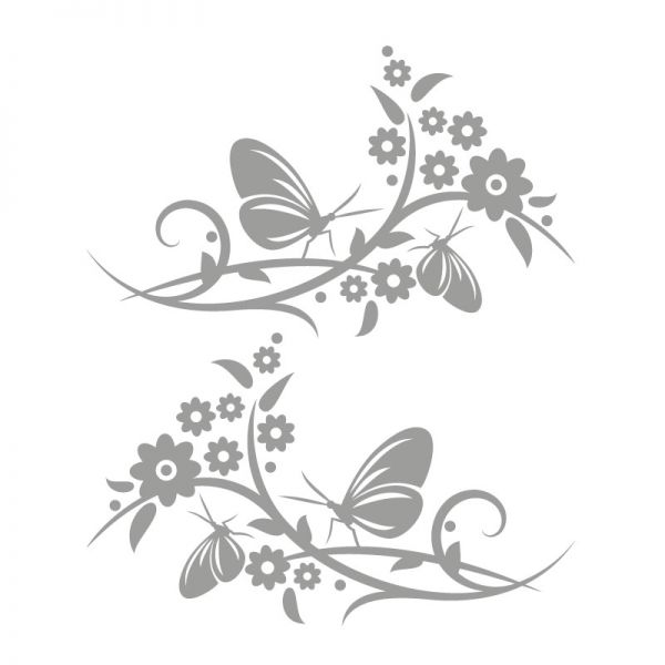 Autoaufkleber Blumenranke Schmetterling Aufkleber 2er Set Motiv Happy