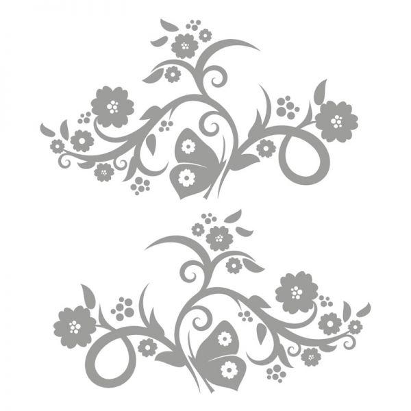 Autoaufkleber Blumenranke Schmetterling Aufkleber 2er Set Motiv Paradise