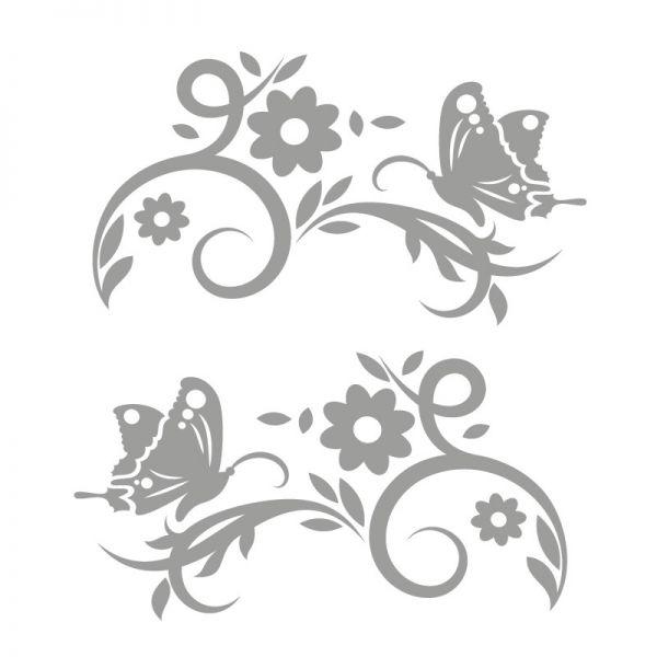 Autoaufkleber Blumenranke Schmetterling Aufkleber 2er Set Motiv Romantic