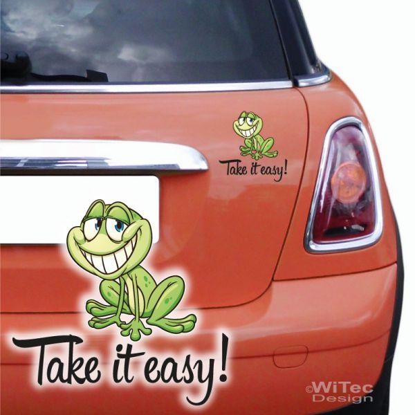 Autoaufkleber Frosch Schriftzug Take it easy