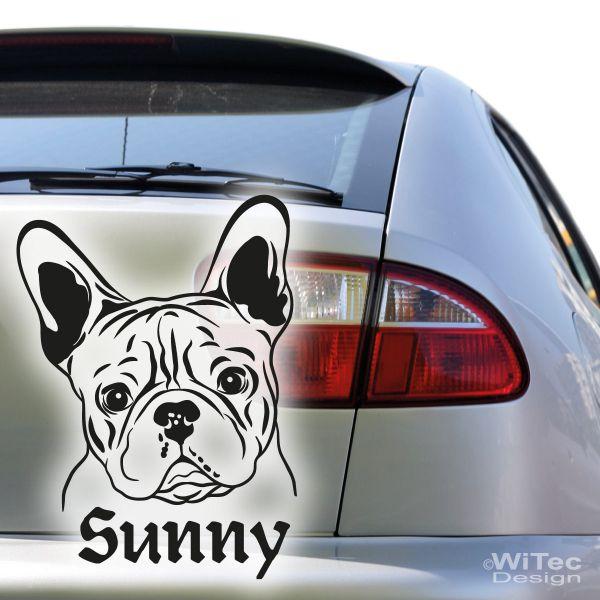 Hundeaufkleber Autoaufkleber Französische Bulldogge Name