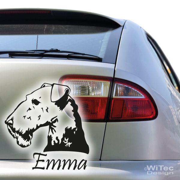 hundeaufkleber airedale terrier mit namen aufkleber autoaufk. Black Bedroom Furniture Sets. Home Design Ideas