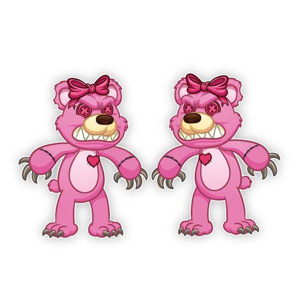 Teddy Bär Autoaufkleber Herz Evil 2er Aufkleber Auto Sticker