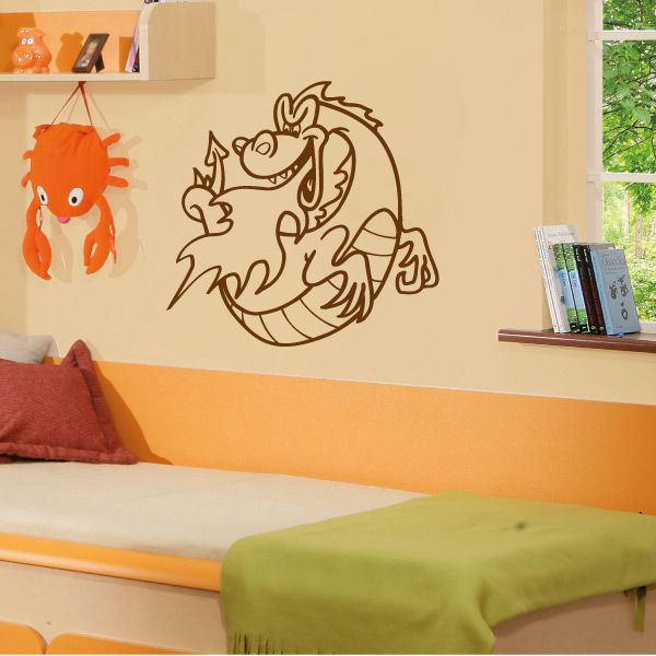 wa272 wandaufkleber drache wandtattoo kinderzimmer. Black Bedroom Furniture Sets. Home Design Ideas