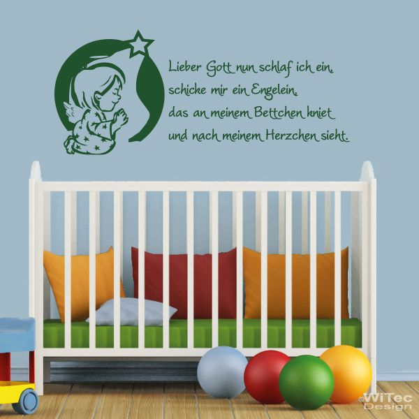 Schlafzimmer schlafzimmer rosa grün : Wandtattoo Kinderzimmer Lieber Gott... Kindergebet Engel