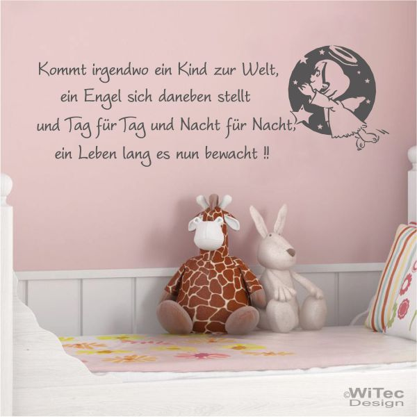 wandtattoo kinderzimmer engel spruch kinderreim wandaufkleber. Black Bedroom Furniture Sets. Home Design Ideas