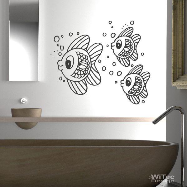 wandtattoo badezimmer fischschwarm wandaufkleber fische. Black Bedroom Furniture Sets. Home Design Ideas